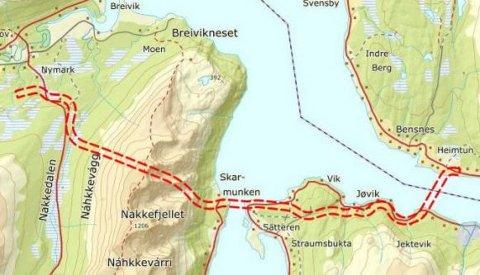 VEITRASÉ: Her skal Ullsfjordforbindelsen gå, hvis prosjektet blir realisert. Illustrasjon: Statens vegvesen