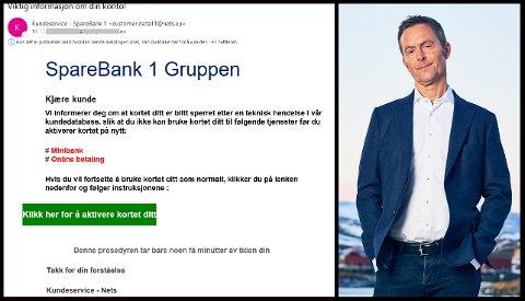 ADVARER: – De blir flinkere og flinkere, og det er av og til vanskelig å se forskjell på svindel og en mail som kommer fra oss, sier kommunikasjonssjef Svein Vidar Loftås i Sparebanken Nord-Norge, som ber kundene være på vakt.