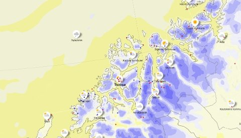 KALDT: Natt til søndag blir det vinterlig. Blå indikerer kuldegrader.