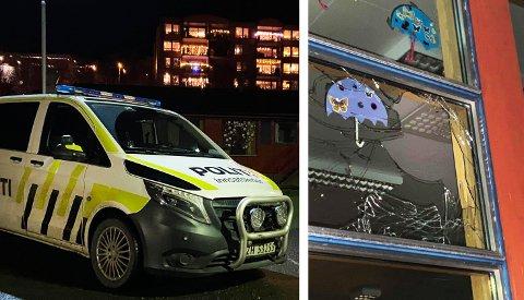 Her er politiet på plass ved Lunheim skole etter at et vindu ble knust. Foto: Elvira Kolsing