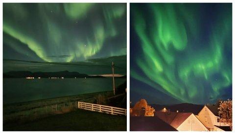 Her er to bilder av kveldens lysshow på himmelen. Bildet til venstre er tatt sør på Kvaløya, mens dert til venstre er tatt i Hamna i retning mot Kvaløya. Foto: Øystein Barth-Heyerdahl/Maja Sojtaric