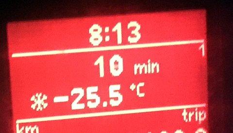 DRITKALDT: Fredag morgen var det hele 25,5 minusgrader ved Hasvoldseter langs Fylkesveg 33.