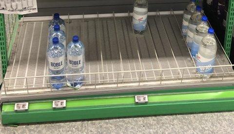 TOMT: Alt vannet uten kullsyret er borte fra Kiwi på Kapp.
