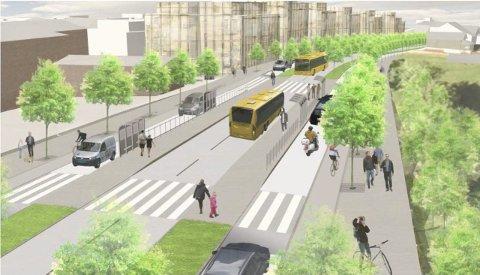 SKISSE: Det er slik Statens vegvesen ønsket at Kirkeveien skulle bli i utgangspunktet.