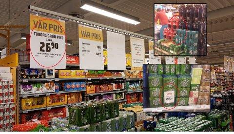 PRIKK, PRIKK OG PRIKK: Øl som står sammen med mineralvann og prisskilt med forskjellige størrelser gjør at kommunen har varslet tre butikker om at de kan ende opp med en alkoprikk.