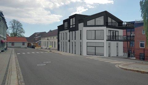 NYTT PROSJEKT: Slik skal det nye leilighetsbygget se ut mot Prinsegata