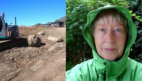 GRAVING: Marit Kiste frykter gravingen i nærheten av Mølen ødelegger for blåveisen i området.