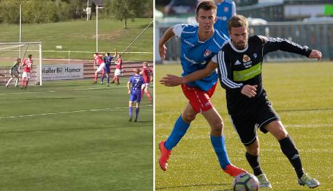 Til venstre scorer Løten sitt første av tre mål da de slo Tynset lørdag. Markus Hermo (t.h i bildet) og Røros tok et viktig bortepoeng mot Kvik.