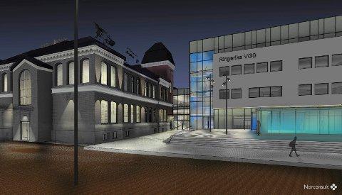 NYSKOLEN: Ringerike videregående skole skal bygges ut. Dagens bygg beholdes, men blir fullstendig oppusset innvendig. Det nye bygget kommer der dagens gymsal ligger og vil ligge nærmest Kongens gate. De to byggene vil henge sammen med en glassgang.