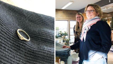 FANT TAPT RING: Lisbeth Jansen og Torill Sagneskar ved Kremmertorvet håper kvinnen som mistet denne ringen tar kontakt.