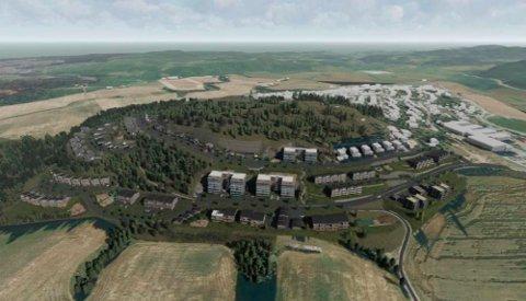 STORT OMRÅDE: Slik kan det nye boligfeltet Gleinåsen Vest bli seende ut.