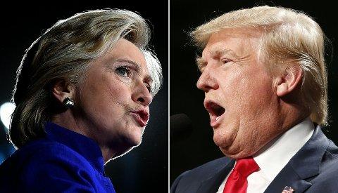 KONTROVERSIELLE: Hillary Clinton og Donald Trump har gjennomført en intens valgkamp. Denne uka skal det avgjøres hvem amerikanerne ønsker som sin 45. president. Foto: JEWEL SAMAD (AFP)