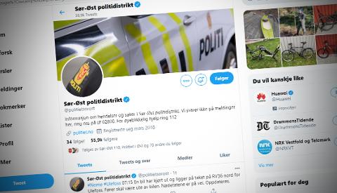 BLOKKERT: Vedkommende ble blokkert fra politiets twitter-konto som brukes til å opplyse om hendelser. – Ingen rett til å følge, mente Spesialenheten for politisaker