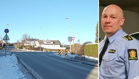Øygardsveien på Austrått og Georg Grødem fra politiet.