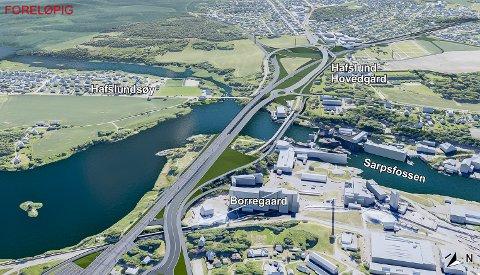 FORSLAGET: Dette er forslaget som Bane NOR sammen med administrasjonen i Sarpsborg kommune  og Østfold fylkeksommune, mener er den beste løsningen for nye bruer over Sarpsfossen.