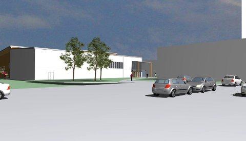 NY HALL: Flerbrukshallen på Knapstad skal bygges i massivtre. Den blir på 2.500 kvadratmeter i to etasjer.