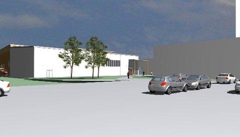 Flerbrukshallen skal  bygges i massivtre og blir på rundt 2.500 kvadratmeter fordelt på to etasjer. Det blir eget ball- og turnrom, i tillegg til garderober, kiosk, tribuner, utstyrs- og vrimlerom. Foto: Stenseth Grimsrud Arkitekter as