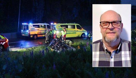 SÅ DET FRA VINDUET: Jens Arne Bærland så helikopteret sirkle over huset før et voldsomt torden kunne høres. Da styrtet også helikopteret. Piloten, en mann i 40-årene, døde i ulykken like ved E18 ved Telemarksporten.