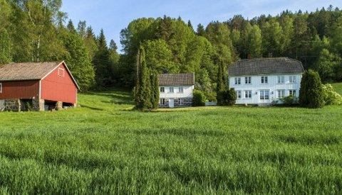 Idyllisk: Nylig ble dette gårdsbruket nær Lagelva solgt, og nye eiere har søkt Tvedestrand kommune om konsesjon. Tunet består av en enebolig, bryggerhus og uthus.