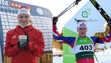 Mestere: Både Eivor og Vegard gikk til topps i junior- NM i skiskyting i Orkdal i helga. Eivor tok i tillegg to bronsemedaljer mens Vegard tok to gull.