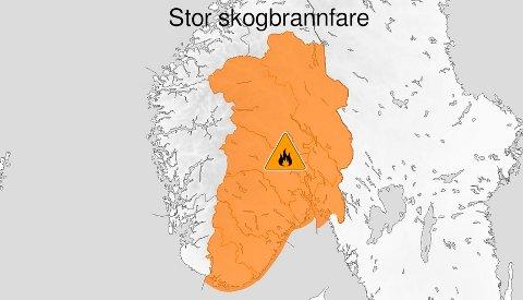 TØRT:Gjeldende skogbrannvarsel for Sør-Norge.