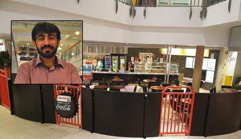 Restaurant Minas Kafeteria holder til på Amfi Fauske. Her ved innehaver Ramazan Temur. Foto: Privat/Christian A. Unosen