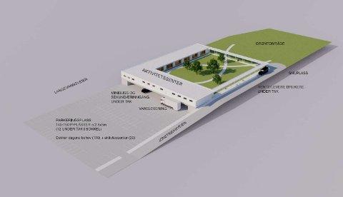 LAGÅRD-FORSLAGET: Kristiansen & Selmer-Olsen har utarbeidet skisser for nytt aktivitetssenter på Lagård. Skissene inkluderer et stort grøntområde og parkeringsplasser. Sivilarkitektene har også utarbeidet en annen skisse for utbygging ved et eventuelt framtidig behov.