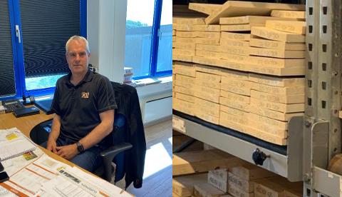 HER TRYKKER SKOEN: Bent Johannessen, driftsleder ved XL Bygg Hellvik, forteller at den alminnelige kunden merker økningen best på for eksempel terrassebord og impregnerte gulvbjelker.