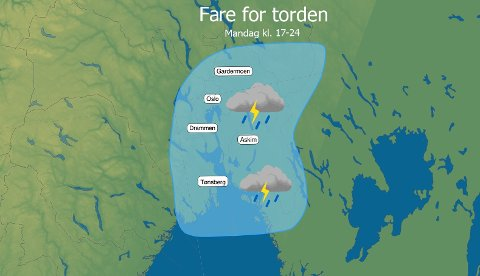 DUNDERVÆR?: Innenfor det blå området kan det bli tordenvær mandag kveld. Men Mariann Foss i Meteorologisk institutt understreker at under halvparten av det skraverte området vil merke noe til Tor med hammeren.