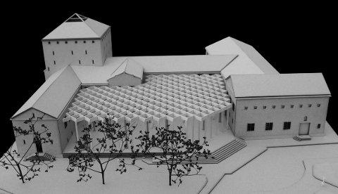 Tak med glass: Dette nye rommet i borggården mener arkitekt Haris Ramic kan gi biblioteket ny vitalitet.MODELLER: HARIS RAMIC