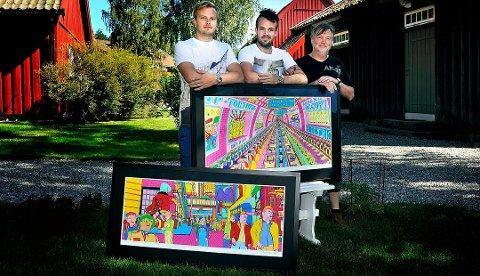 (Fra venstre) Jacob, Simen og Ole Dørje eier og driver Soli Brug. Her er de i forbindelse med Pushwagner-utstillingen i 2016.