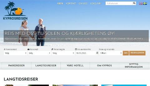 Skjermdump av hjemmesiden til reiseselskapet som nå er slått konkurs