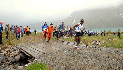 HAR REKORDEN: Thomas Bereket (fremst) sette ny rekord i Besseggløpet i 2014 med tida 1:15:40. I år stiller verdas beste fjelløper, Killian Jornet Burgada, opp til start. Vil rekorden til Bereket halde?