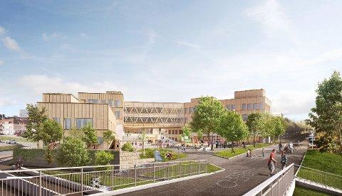 VANT FRAM: Dette forslaget fra White vant fram som alternativ for nye Os skole i Halden. Alternativet som ble forkastet, foreslå å bevare Os skole. Det har skapt reaksjoner.