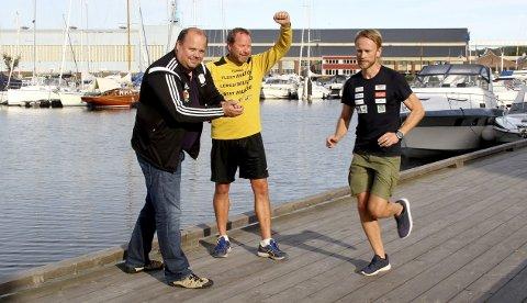 12. september: – Målet er å samle minst 500, som blir med på «løpedugnaden», sier Andreas Rønningen (HIF) og Rune Norhall (Gullhaug IL) når Jimmy Vika skal løpe sin maraton nummer 16 i Holmestrand av 20 totalt på 20 dager. Begge foto: Pål Nordby