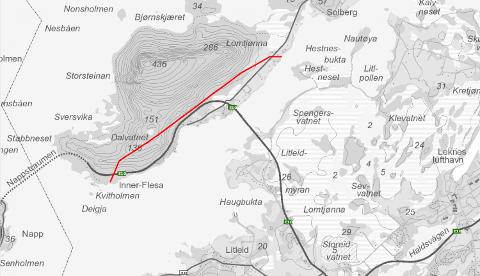 Arbeidet vil i all hovedsak foregå langs den røde streken på kartskissen.