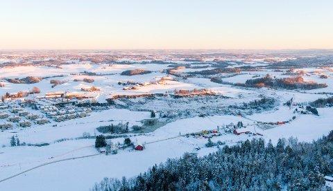 Dronebilder fra rasområdet på Ask i Gjerdrum fotografert 3. januar 2021.