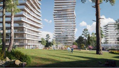 HØYT: Den høye bebyggelsen kan få store grøntområder. Tegning: Link Arkitektur