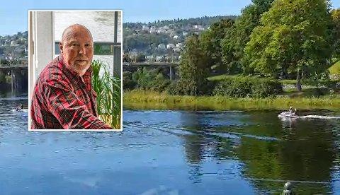 REAGERER: Sverre H.  Utseth irriterer seg over motoriserte båter og vannskutere som tar seg oppover Nidelva.