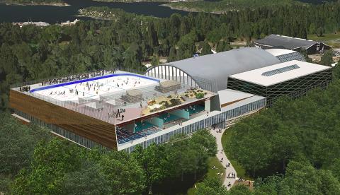 STORE PLANER: Ishockeybane, svømmebasseng og mye mer kan det bli i det nye anlegget på Ekeberg. TEGNING: Lønnheim Idrett AS