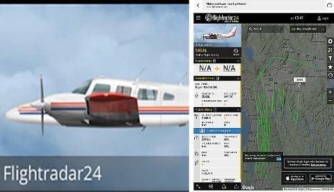 Flyet er SE-GBL, av typen Piper PA-34-200 (med to motorer) og eies av svenske Prokitor Flight training. På skjermdumpen kan man se flytraseen til flyet. (Foto: Skjermdump fra flightradar24.com)