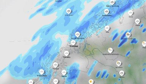VÅTT: Det blir en regntung pinse i år med så mye som 30 mm regn i Troms både søndag og mandag.