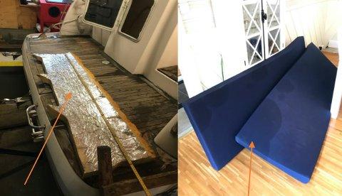 OLJESØL: Et sentralt bevis i søksmålet mot NRK-journalistene Sveinung Åsali og Øystein Antonsen er oljesøl fra båtens styringssystem. Her er bilder av oljesøl som ble lagt fram i retten.