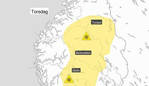 FORVENTES SNØ: Kan komme opptil 10 cm med snø i Oppland torsdag.