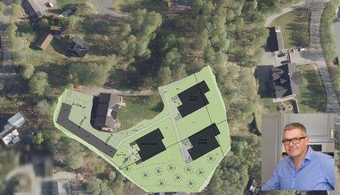 UTBYGGING: Hans Bernhard Falk mener naboene i de nye leilighetene får bedre utsikt enn han selv har i boligen til høyre i bildet.