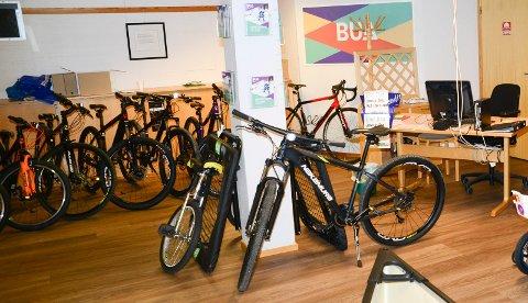 MANGE MULIGHETER: Det er mange muligheter til å låne en sykkel ved biblioteket i Åsnes.
