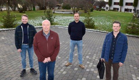 TEAMET: Utbygger Hjalmar Sørgård (foran) har fått hjelp av fra venstre Magnus Bratli Holte (Berntsen Plan & Oppmåling) og arkitektene Ole Henrik Hjorth og Bjørn Dyvik i planleggingen av Borgerenga.