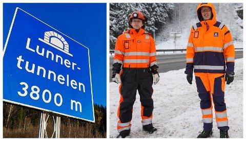 FRAMDRIFT: Lars Magnar Allergodt (t.v.) og elektroentreprenør Mesta har kommet godt igang med arbeidet i Lunnertunnelen.