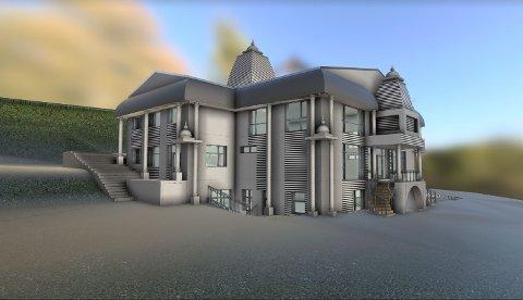 MONUMENTALT: Arkitekten beskriver det planlagte tempelet som et praktbygg med elementer fra både indisk arkitektur og norske stavkirker. Ill.: Seth Teknisk Design AS