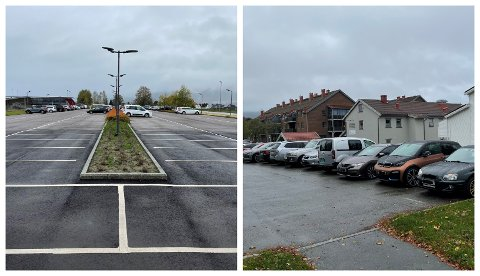 ROMSLIG OG TRANGT: Det er god plass for parkering ved togstasjonen i Sande etter utvidelsen, men i sentrum er det desto trangere.